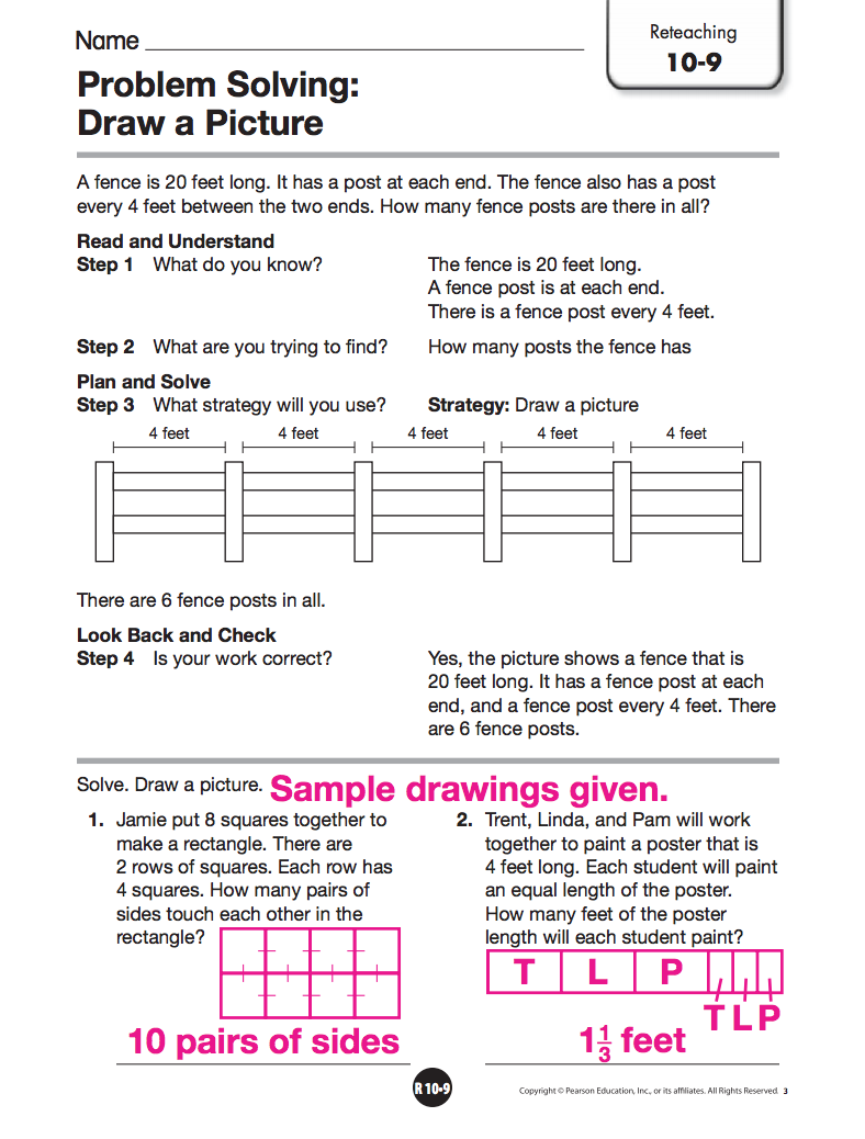 problem solving draw a picture 9-6 reteaching